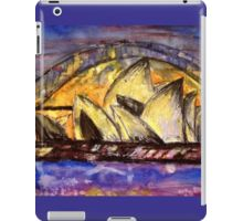 Hot Sydney Night iPad Case/Skin. The Sydney Harbour Bridge and the Sydney Opera House in vibrant purples, yellows and oranges. Colours from a hot summers night. Perfect to brighten up your iPad and for those who love these iconic Sydney sites. iPad retina and iPad mini cases available.