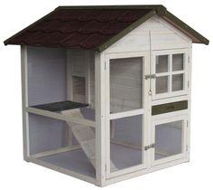 """A.K. for Pets 20092 Hasenstall """"Cottage"""" 2 Etagen, 105 x 105 x 110 cm, weiß modernes Design, kompakt in seiner Form 2 Ebenen durch eine Leiter verbunden viele Türen und Fenster vorhanden 158,89 €"""