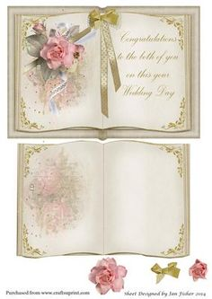Open book wedding card with insert on Craftsuprint designed by Jan Fisher - A5 Landscape open book with insert - Now available for download!
