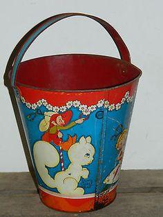 Vintage Ohio Art Fern Bisel Peat Tin Litho Sleepy Sand Pail Fairy Image Bucket~~