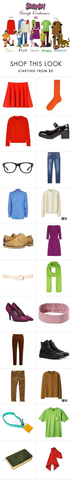"""Scooby Doo Group Costumes!"" by leigha-watlington ❤ liked on Polyvore featuring Uniqlo, MM6 Maison Margiela, River Island, Nudie Jeans Co., Ralph Lauren Purple Label, Steve Madden, Roland Mouret, Maison Boinet, Loro Piana and prAna"