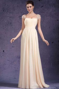 Square Floor Length Princess Yellow Chiffon Evening Dress With Draped Cet0003