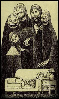 Image of wake up Creepy Sketches, Scary Drawings, Dark Art Drawings, Art Sketches, Creepy Art, Weird Art, Dark Art Illustrations, Illustration Art, Images Terrifiantes