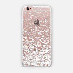 White Confetti Hearts Transparent Phone Case, iPhone Covers, Cool Phone Cases, Samsung Phone Cases, Best Cell Phone Cases, Best Phone Cases