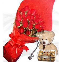 Send this 3 dozen of roses in a bouquet to your Grandmother on Mother's Day with 12-13 inches light brown teddy bear, Ferrero Rocher 16 and silver plated bracelet with heart shaped pendant. This magnificent bouquet feature of the finest red roses has added stuff to create a stunning combination of fresh flowers and valuable gift. Just imagine their reaction when this gets delivered to their door. Online Flower Shop, Dozen Roses, Ferrero Rocher, First Anniversary, Most Favorite, Fresh Flowers, Perfect Match, Chocolates, Red Roses