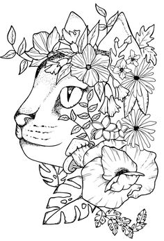 Cat Floral Printable Poster Print Art Print Tattoo Design | Etsy Native American Tattoos, Black Cat Tattoos, Floral Printables, Poster Prints, Art Prints, Cat Design, Handmade Design, Print Tattoos, Coloring Pages