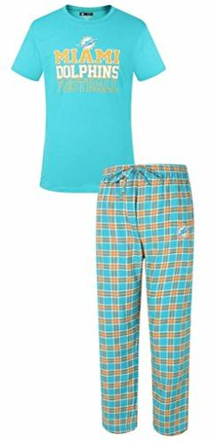 Miami Dolphins NFL Men's Shirt and Pajama Pants Sleep Set   Miami Dolphins NFL Men's Shirt and Pajama Pants Sleep Set Officially Licensed by Team and League. Great Gift Item! Set includes 1 - 60% Cotton/40% Polyester Jersey Knit Top with distressed looking Team Name and Logo screen printed on the front AND 1 pair of 60% Cotton/ 40% Polyester Woven Plaid Flannel Pants with your Team logo embroidered on the front left. Drawstring Tie at waist. Team Colors and Logo. Made by Concepts Spo..