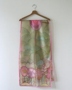 Hand painted silk scarf painted scarf silk scarves by SilkHome