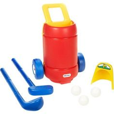 Little Tikes Totsports Easy Hit Golf Set. Play putt-putt golf in your backyard. Role-play activity helps develop motor skills and coordination. Set includes all surface putting hole. clubs and balls. Cart holds putter and driver.