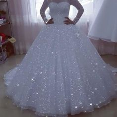 Sparkly 2019 Wedding Dresses with Sheer Sleeves Modest O-Neck Bridal Ball Gowns Fashion Item Type:Wedding Dresses Back Design:Zipper Silhouette:Ball Gown Built-in Bra:Yes Decoration:Sequins Train:Chapel Train Sleeve Style:Regula Wedding Dress Backs, Wedding Dresses Plus Size, Modest Wedding Dresses, Bridal Dresses, Glitter Wedding Dresses, Diamond Wedding Dress, Disney Wedding Dresses, Prom Dresses, Tulle Wedding