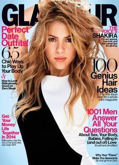 Shakira, Shakira! She covers Glamour's February 2014 issue, photographed by Nicolas Moore. Dress, Alexandre Vauthier.