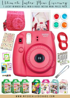 Enter the Instax Mini Giveaway to enter to win a huge instal mini prize pack including an Instax Mini 8, film, batteries, and other fun accessories.