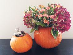 Halloween pumpkin decor - flower vase and sweetie jar.   Read more: http://www.knockknocklondon.co.uk/halloween-home/