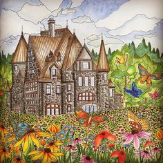 Butterfly Castle Coloured By Simone Weidenbach Line Art Kamala Melzack Find This Pin And More On Coloring Book