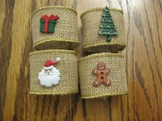 Burlap Holiday Napkin Rings Christmas Napkin Rings--but replace the cartoonish decs with something else