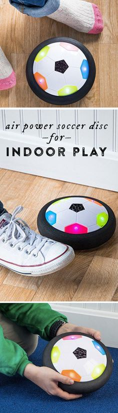 Like an air hockey puck, this colorful disc hovers just above the floor on a cushion of air. Your indoor floor becomes a sport court.