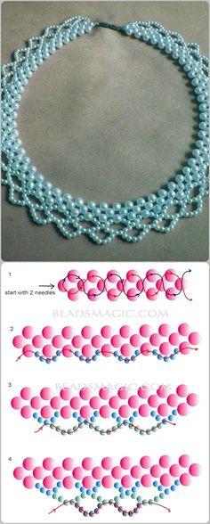 collar de perlas azules, con su esquema