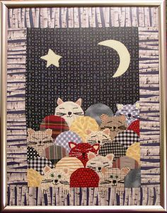 Cat quilt by Nadide Korbey / Istanbul.  Clamshell cat design. Finished size 51 x 39 cm