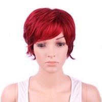 """Women's Wigs 9inch Short Bug Curly Natural Synthetic Hair Full Wig (Size: 9 """", Color: Burgundy)"""