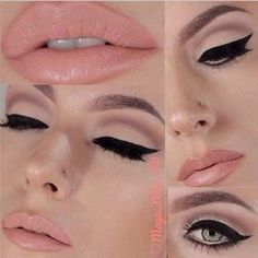 How to create the perfect cat eye make-up look? Cat eyeliner and soft lipstick makeup inspiration Love Makeup, Makeup Inspo, Makeup Inspiration, Makeup Tips, Makeup Ideas, Gorgeous Makeup, Pretty Makeup, Vintage Makeup Looks, Makeup Tutorials