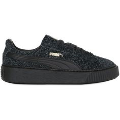Puma Select Women Suede Elemental Platform Sneakers ($66) ❤ liked on Polyvore featuring shoes, sneakers, black, platform shoes, kohl shoes, black suede sneakers, creeper shoes and suede sneakers