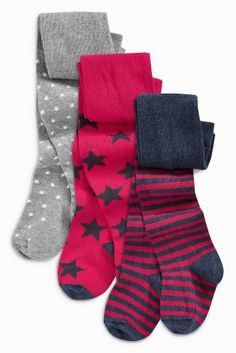 Red Star, Spot And Stripe Tights Three Pack (0mths-6yrs)