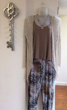 Brown vest £12.00 with cream mesh cardigan £35.00 and brown & blue harem trousers £31.95 for the sunny days out... - FREE DELIVERY!