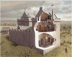 Illustrated reconstruction of Ardrossan Castle, Ayrshire, Scotland Chateau Medieval, Medieval Castle, Tower House, Castle House, Gothic Buildings, Old Buildings, Roman Bath House, Fantasy Castle, Fantasy Art