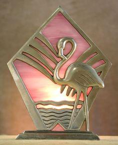 ANTIQUE ART DECO MACHINE AGE METAL FLAMINGO LAMP ~ Pink Slag Glass c. 1940