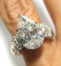 ginormous pear shaped diamond ring