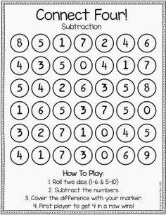 Lucky to Be in First Math Mania Connect Four Maths Guidés, Math Classroom, Teaching Math, Maths Games Ks1, Homework Games, Teaching Resources, Math Bingo, Mental Maths, Math Fact Fluency