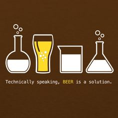 We were invited to a beer show in Los Alamos, New Mexico (you know, where they have all those scientists, top secret labs and general government-type sketchy stuff) and we decided we needed a beer / science t-shirt design to debut. So here it is…Technically, Speaking Beer is a Solution.