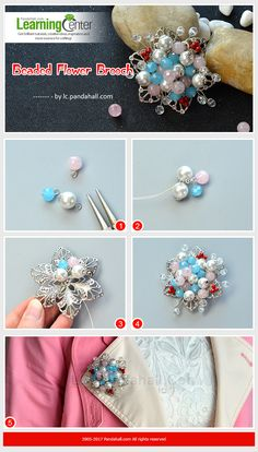 The beaded flower brooch is made of Quartz beads, glass beads. It looks very good on all kinds of clothes. Thread Jewellery, Soutache Jewelry, Beaded Jewelry, Beaded Necklace, Diy Bracelet Designs, Panda Hall, Essential Oil Jewelry, Beaded Brooch, Flower Brooch