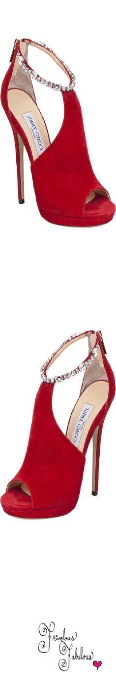 Jimmy Choo ~ Fall Suede Open Sandal Heels, Red 2013