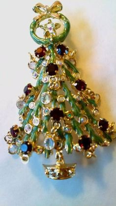 kirks folly green enameled and gold toned christmas tree brooch pin pin is a little over - Christmas Pins