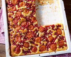 Aprikosen-Johannisbeer-Kuchen - Früchte auf Rührteig mit Quark, mit Mandeln bestreut und Konfitüre-Glasur - schnell und einfach - http://www.essen-und-trinken.de/rezept/317252/aprikosen-johannisbeer-kuchen.html