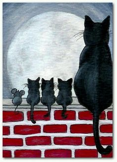 Details about Just Like Family Black Cat Kittens Fence Mice Mouse Friends- by BiHrLe Print - Animals Art And Illustration, Cat Illustrations, Halloween Illustration, Cat Drawing, Painting & Drawing, Moon Painting, Drawing Base, Cat Quilt, Crazy Cats