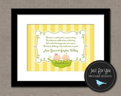 Baby Shower Printables - Nursery Wall Art - Two Peas In A Pod - Twins | Just For You Printable Designs | 4UPrintableDesigns on Etsy | www.facebook.com/JustForYouPrintableDesigns