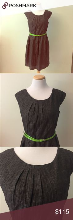 """NEW Alice + Olivia Grey Dress Size M This Alice + Olivia grey dress size M is brand NEW without tag. A simple but elegant dress! It is 36"""" long! The lime green patent leather belt add pop of color to the outfit! Alice + Olivia Dresses Midi"""