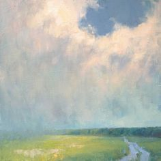 summer sky with rain landscape painting by Steve Allrich