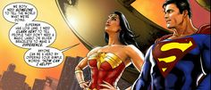 Wonder Woman and Superman look out over Metropolis