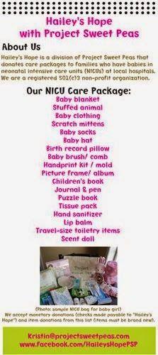 NICU care package item list. #NICU #HaileysHope #Projectsweetpeas