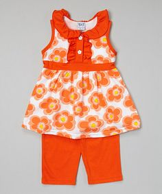 This Orange Floral Button Tunic & Capris - Infant, Toddler & Girls by G&J Relations is perfect! #zulilyfinds