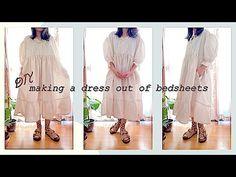 Making a Dress out of a bed sheet 🛌 Refashion DIY Oversized Babydoll Dress Sewing Tutorialㅣmadebyaya - YouTube