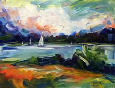 """Daily+Paintworks+-+""""Sail+Away""""+-+Original+Fine+Art+for+Sale+-+©+Laurie+Rubinetti"""
