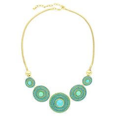 Add a pop of style to evening ensembles and work outfits alike with this striking gold-plated necklace, showcasing beaded medallions in shades of blue and gr...