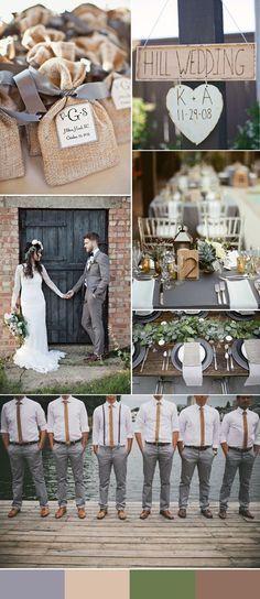 rustic grey and light brown wedding ideas #WeddingIdeasChurch
