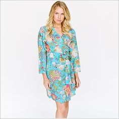<p>Tousled wildflowers bedeck this stunning kimono sleevestyle crossover robe with selftie sash and inner tie. On soft indian cotton voile, this beauty is perfect for the sweet unwind or the bloom of getting ready.</p> <ul> <li>100% cotton voile. Cotton voile is a featherweight cotton.</li> <li>Includes a matching sash.</li> </ul>