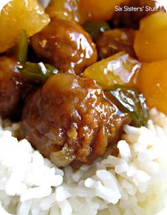 Slow Cooker Hawaiian Meatballs | Six Sisters' Stuff