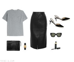 Trini blog | Tom Ford leather skirt - Jimmy Choo heels - T by Alexander Wang tshirt - Acne Studios pouch